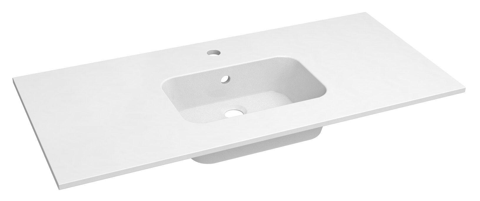 Bad - Waschbecken Dhule 16, Farbe: Weiß – 10 x 101 x 46 cm (H x B x T)