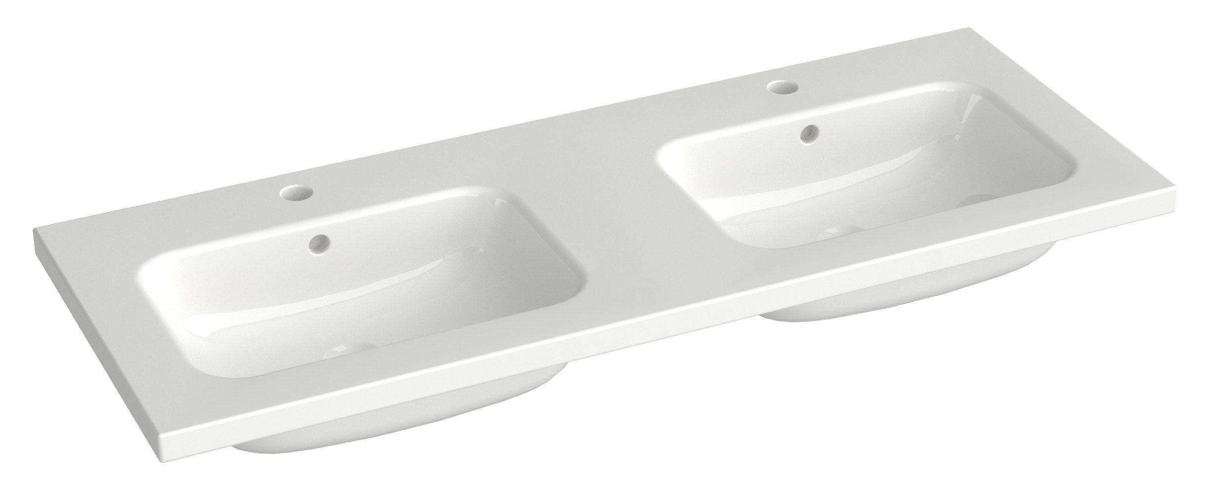 Bad - Doppelwaschbecken Dhule 23, Farbe: Weiß – 10 x 121 x 46 cm (H x B x T)