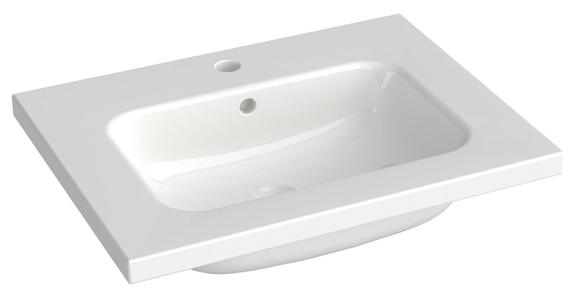 Bad - Waschbecken Dhule 19, Farbe: Weiß – 10 x 61 x 46 cm (H x B x T)