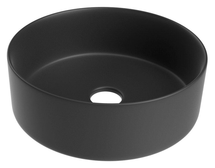 Bad - Waschbecken Dhule 26, Farbe: Schwarz matt – 12 x 36 x 36 cm (H x B x T)