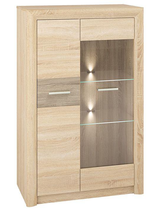 Vitrine Mesquite 06, Farbe: Sonoma Eiche hell / Sonoma Eiche Trüffel - Abmessungen: 131 x 85 x 40 cm (H x B x T), mit 2 Türen und 7 Fächern