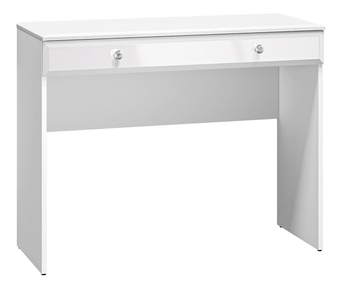 Schminktisch Sydfalster 05, Farbe: Weiß / Weiß Hochglanz - Abmessungen: 79 x 100 x 41 cm (H x B x T), mit 1 Schublade