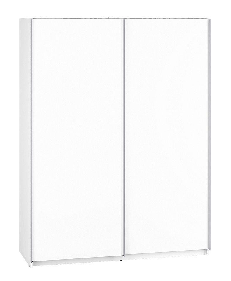 Schiebetürenschrank / Kleiderschrank Tornved 07, Farbe: Weiß - Abmessungen: 200 x 151 x 62 cm (H x B x T)