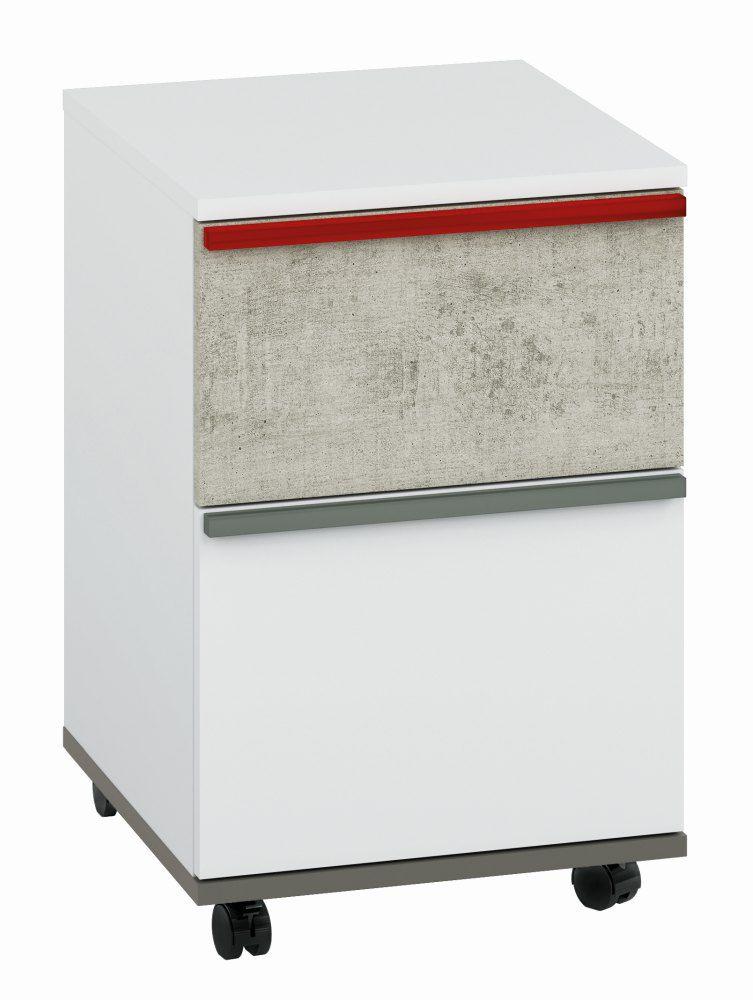 Jugendzimmer - Rollcontainer Connell 10, Farbe: Weiß / Anthrazit / Hellgrau - Abmessungen: 58 x 39 x 40 cm (H x B x T), mit 1 Tür, 1 Schublade und 1 Fach