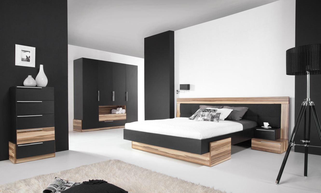 """Schlafzimmer Komplett - Set B """"Andenne"""", 4-teilig, Schwarz / Walnuss"""