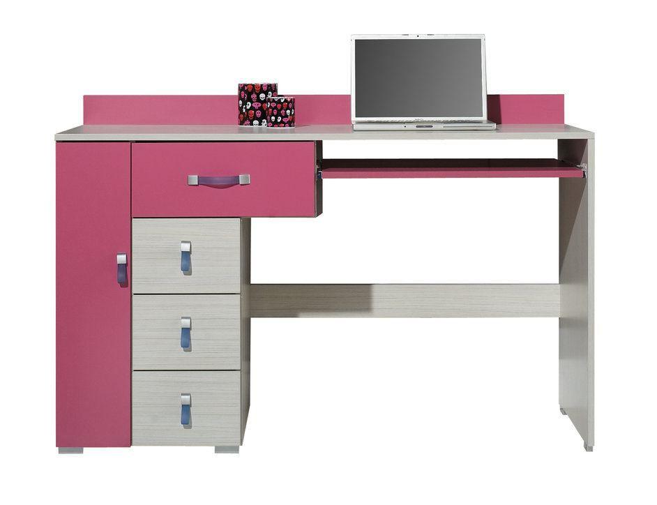 """Kinderzimmer - Schreibtisch """"Felipe"""" 13, Rosa / Weiß - Abmessungen: 86 x 130 x 55 cm (H x B x T)"""