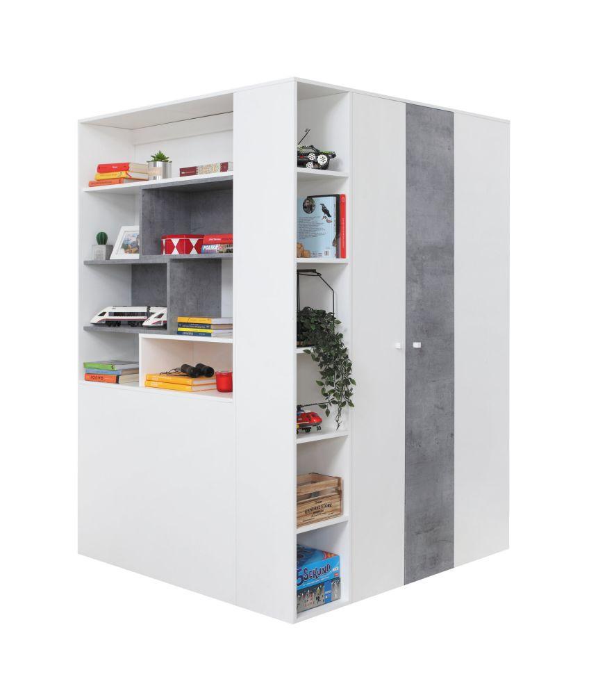 Jugendzimmer - Drehtürenschrank / Eckkleiderschrank Lede 01, Farbe: Grau / Weiß - Abmessungen: 190 x 135 x 135 cm (H x B x T)