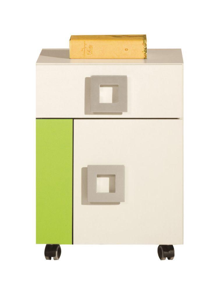 Jugendzimmer Rollcontainer Namur 20, Farbe: Grün / Beige - Abmessungen: 52 x 40 x 44 cm (H x B x T)