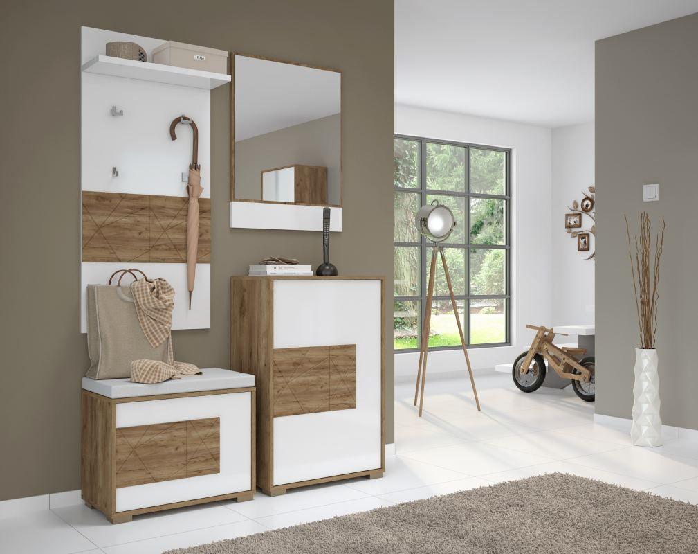 Garderobe Komplett - Set D Manase, 4-teilig, Farbe: Eiche Braun / Weiß Hochglanz