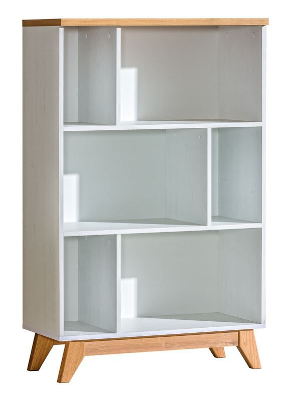 Bücherregal Panduros 06, Farbe: Kiefer Weiß / Eiche Braun - Abmessungen: 128 x 80 x 40 cm (H x B x T)