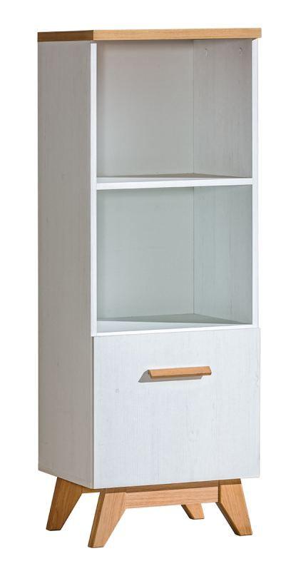 Bücherregal Panduros 07, Farbe: Kiefer Weiß / Eiche Braun - Abmessungen: 128 x 45 x 40 cm (H x B x T)