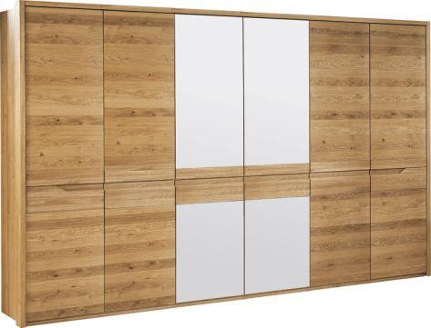 """Schrank """"Kyme"""" Wildeiche natur 52, teilmassiv - 209 x 305 x 63 cm (H x B x T)"""