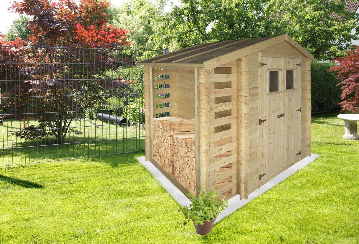 Gartenhütte Holz Velden - 2,56 x 2,00 Meter aus 19mm Blockbohlen mit Kaminholzunterstand