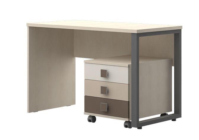 Jugendzimmer - Schreibtisch inkl. Rollcontainer Matthias 09, Farbe: Creme / Cappuccino - Abmessungen: 75 x 115 x 60 cm (H x B x T)