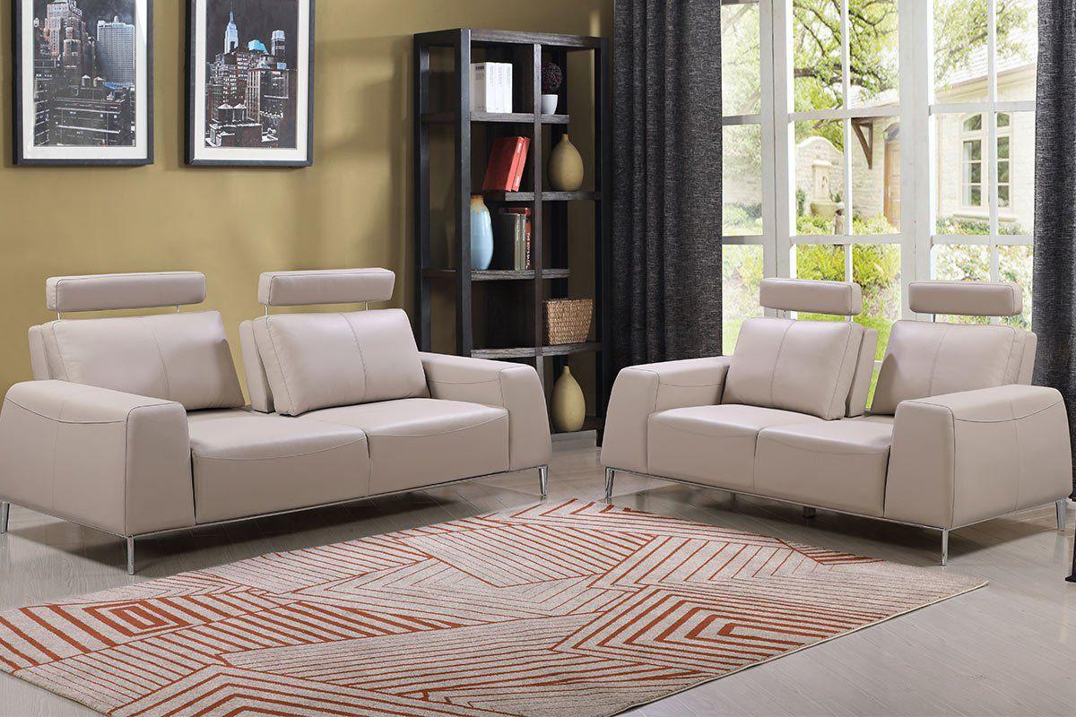 Echtleder Premium Couch Veneto, Set (2- und 3-Sitz Sofa), Farbe: Ecru-beige