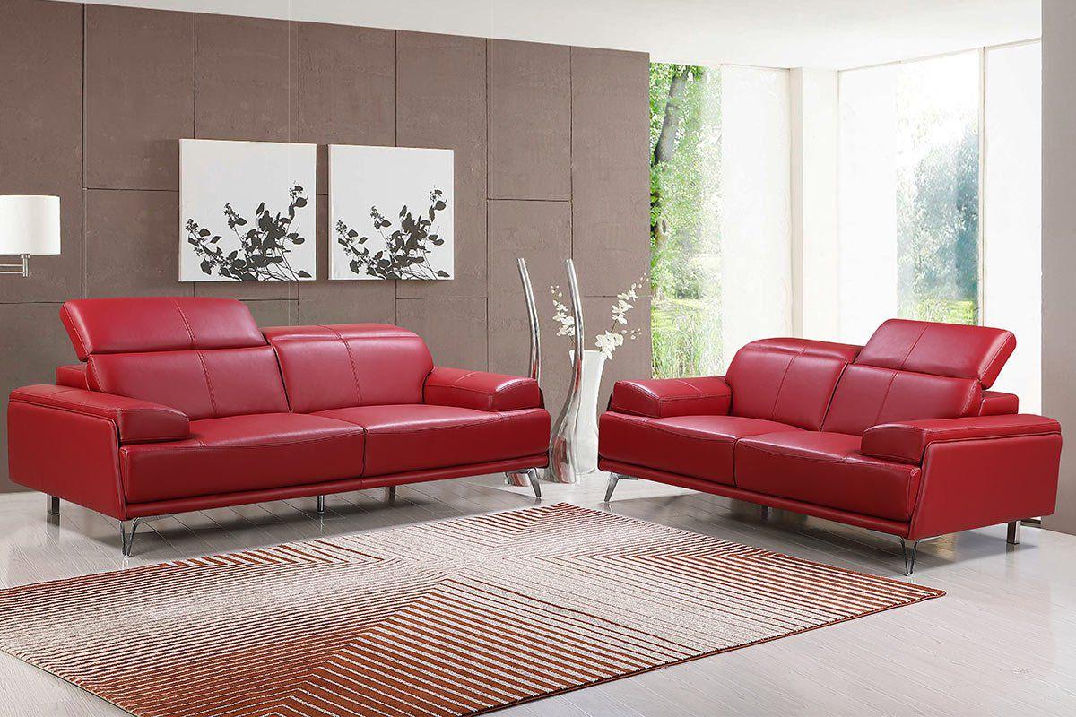 Premium Couch Venezia, Set (2- und 3-Sitz Sofa), Farbe: Rubin-rot
