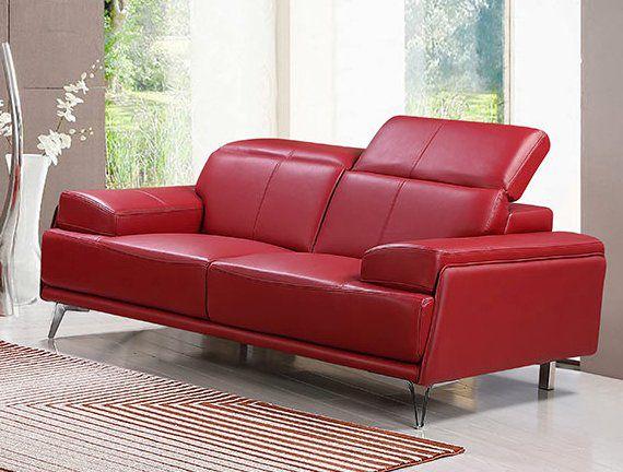 Premium Couch Venezia, 2-Sitz Sofa, Farbe: Rubin-rot