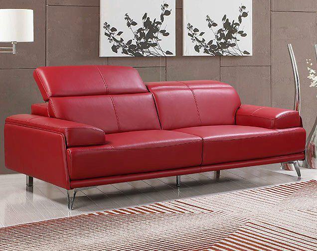 Premium Couch Venezia, 3-Sitz Sofa, Farbe: Rubin-rot