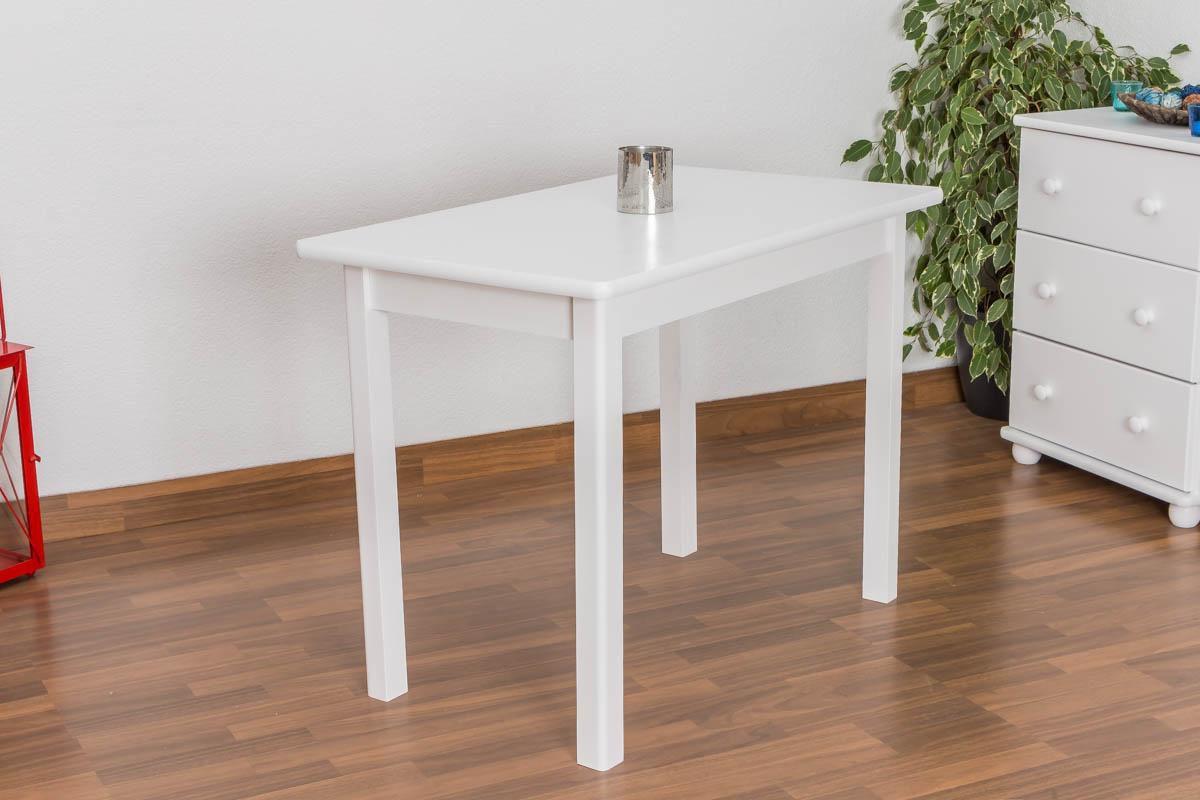 Massivholz Esstisch 9x9 cm Kiefer, Farbe Weiß
