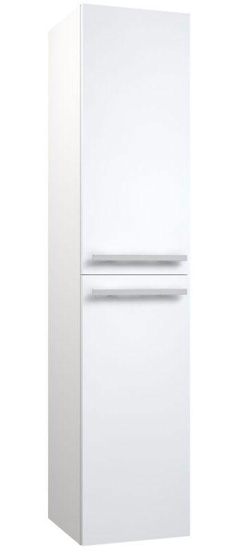 Badezimmer - Hochschrank Bidar 87, Farbe: Weiß glänzend – 160 x 35 x 35 cm (H x B x T)