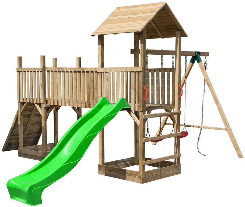 """Spielturm-Anlage mit Rutsche, Doppelschaukel und Kletterwand """"Wild Park"""""""