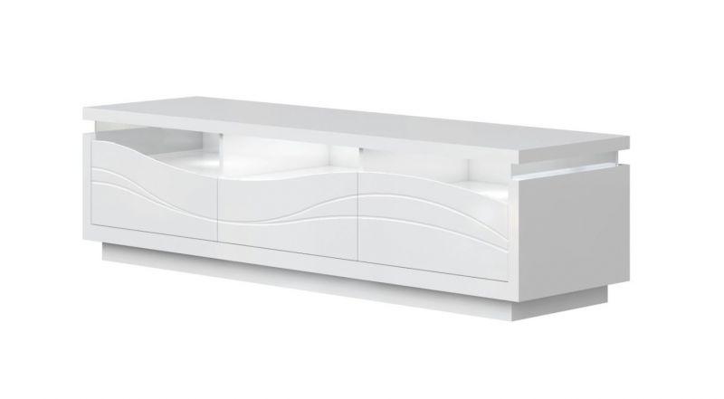 TV - Unterschrank Patamea 03, Farbe: Weiß Hochglanz - 48 x 180 x 50 cm (H x B x T)