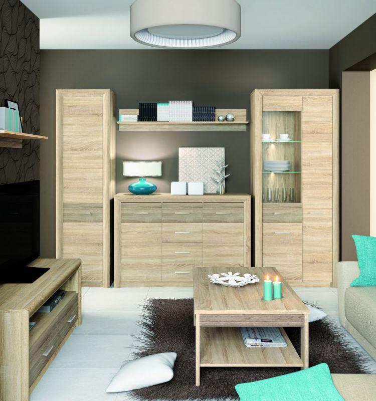 Wohnzimmer Komplett - Set C Mesquite, 7-teilig, Farbe: Sonoma Eiche hell / Sonoma Eiche Trüffel