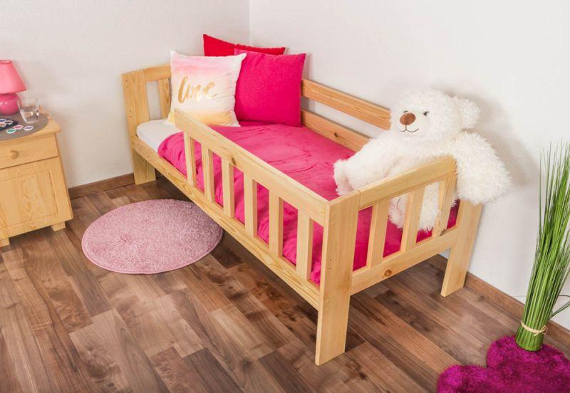 Kinderbett mit Absturzsicherung Kiefer Vollholz massiv natur A17, inkl. Lattenrost - Abmessung 70 x 160 cm