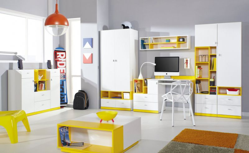 """Jugendzimmer Komplett - Set A """"Geel"""", 7-teilig, Weiß / Gelb"""