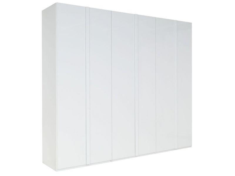 Drehtürenschrank / Kleiderschrank Thiva 03, Farbe: Weiß / Weiß Hochglanz - Abmessungen: 237 x 270 x 59 cm (H x B x T)