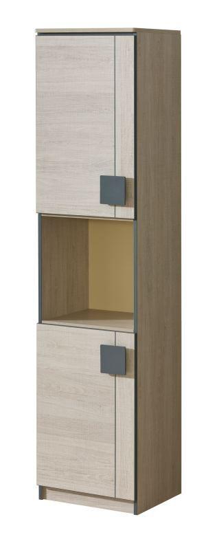 Jugendzimmer - Schrank Elias 18, Farbe: Hellbraun / Grau - Abmessungen: 187 x 45 x 40 cm (H x B x T)