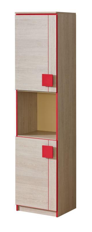 Jugendzimmer - Schrank Elias 18, Farbe: Hellbraun / Rot - Abmessungen: 187 x 45 x 40 cm (H x B x T)