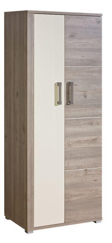 Drehtürenschrank / Kleiderschrank Cavalla 01, Farbe: Eiche / Creme - Abmessungen: 198 x 80 x 52 cm (H x B x T)