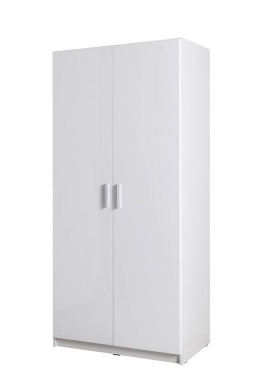 Drehtürenschrank / Kleiderschrank Messini 02, Farbe: Weiß / Weiß Hochglanz - Abmessungen: 198 x 92 x 54 cm (H x B x T)