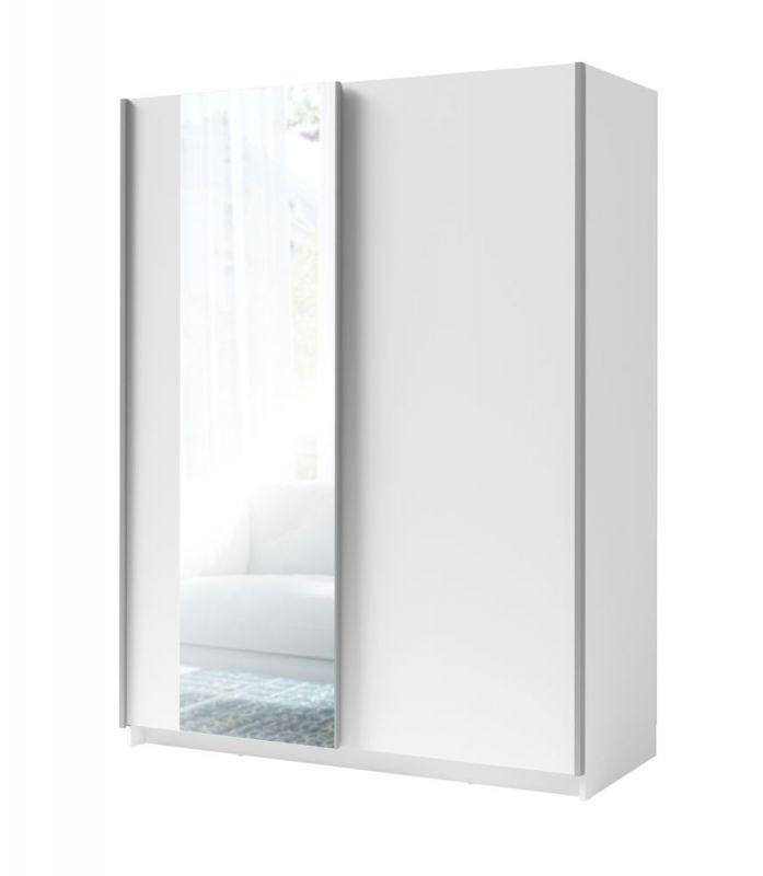 Schiebetürenschrank / Kleiderschrank Trikala 09, Farbe: Weiß - Abmessungen: 198 x 180 x 60 cm (H x B x T)