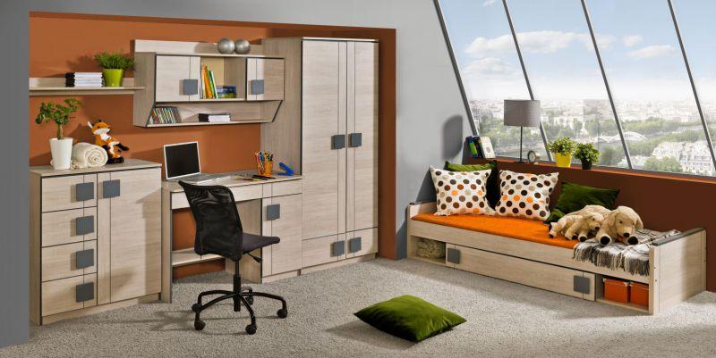 Jugendzimmer Komplett - Set D Elias, 6-teilig, Farbe: Hellbraun / Grau
