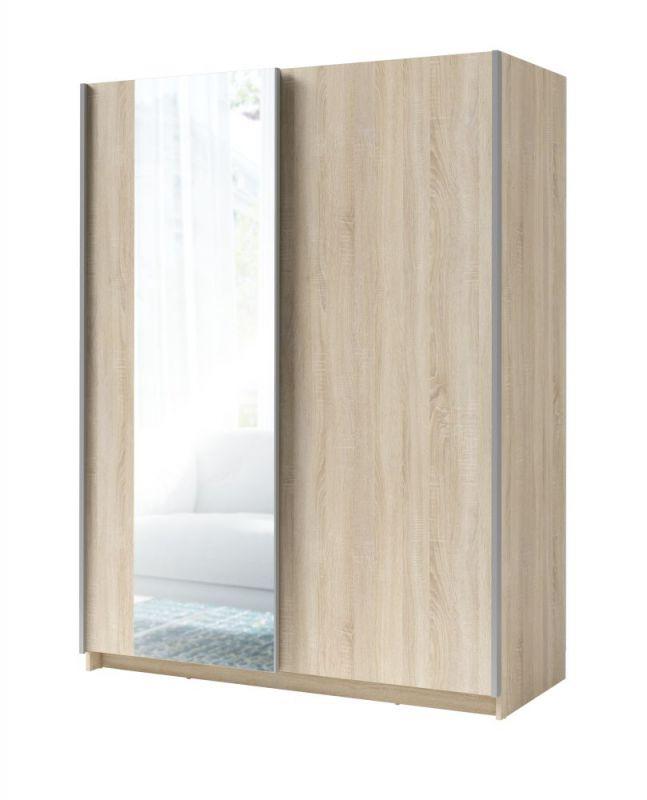 Schiebetürenschrank / Kleiderschrank Trikala 08, Farbe: Eiche - Abmessungen: 198 x 150 x 60 cm (H x B x T)
