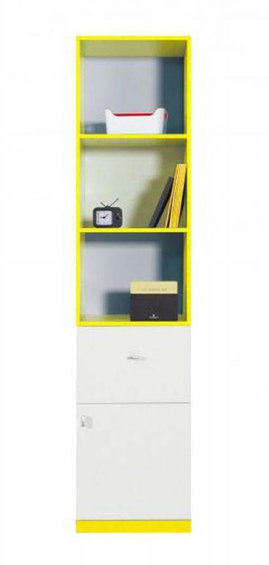 """Jugendzimmer - Schrank """"Geel"""" 26, Weiß / Gelb - Abmessungen: 195 x 45 x 40 cm (H x B x T)"""