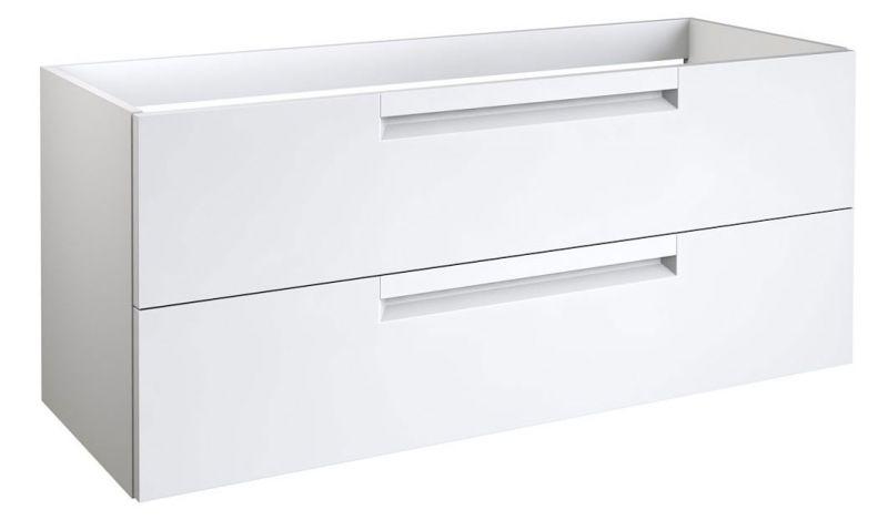 Waschtischunterschrank Meerut 29 mit Siphonausschnitt, Farbe: Weiß matt – 50 x 119 x 45 cm (H x B x T)