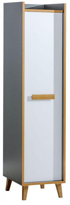 Schrank Caranx 2, Farbe: Weiß / Eiche / Anthrazit - Abmessungen: 195 x 47 x 55 cm (H x B x T)