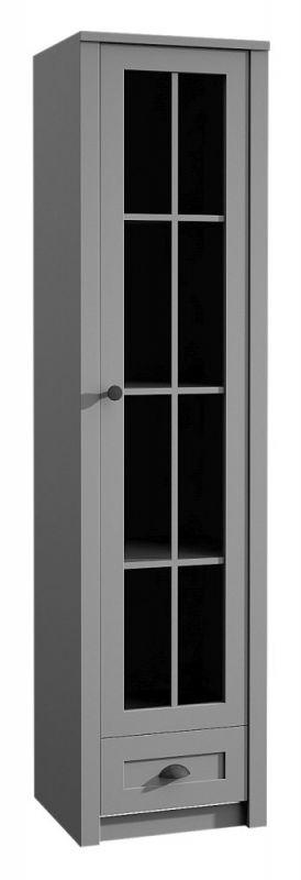 Vitrine Segnas 12, Farbe: Grau - 198 x 50 x 43 cm (H x B x T)