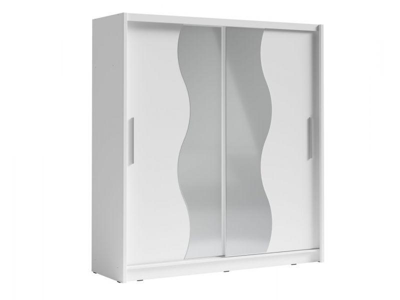 Schiebetürenschrank / Kleiderschrank Chania 01, Farbe: Weiß - Abmessungen: 215 x 205 x 63 cm (H x B x T)
