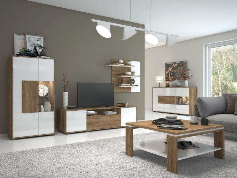 Wohnzimmer Komplett - Set B Manase, 5-teilig, Farbe: Eiche Braun / Weiß Hochglanz