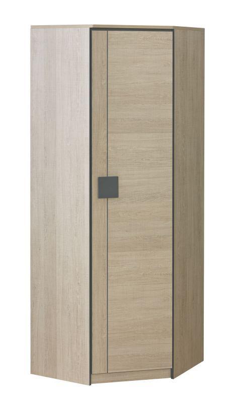 Jugendzimmer - Drehtürenschrank / Kleiderschrank Elias 07, Farbe: Hellbraun / Grau - Abmessungen: 187 x 71 x 71 cm (H x B x T)