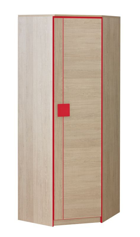 Jugendzimmer - Drehtürenschrank / Kleiderschrank Elias 07, Farbe: Hellbraun / Rot - Abmessungen: 187 x 71 x 71 cm (H x B x T)