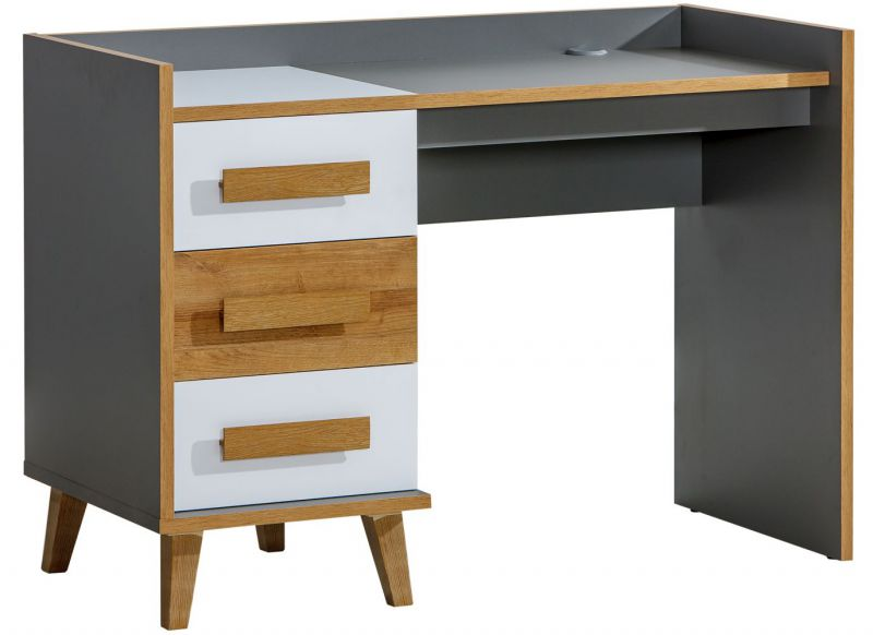 Schreibtisch Caranx 8, Farbe: Weiß / Eiche / Anthrazit - Abmessungen: 85 x 120 x 55 cm (H x B x T)