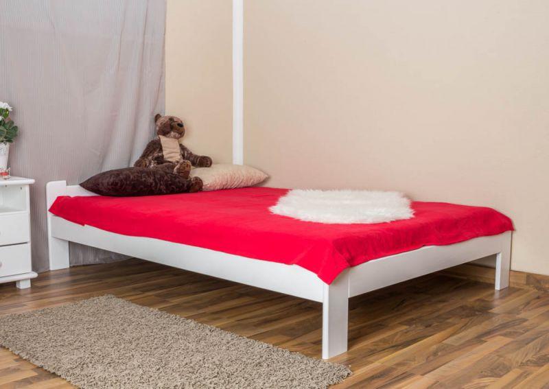 Einzelbett / Gästebett Kiefer Vollholz massiv weiß lackiert A8, inkl. Lattenrost - Abmessungen: 140 x 200 cm