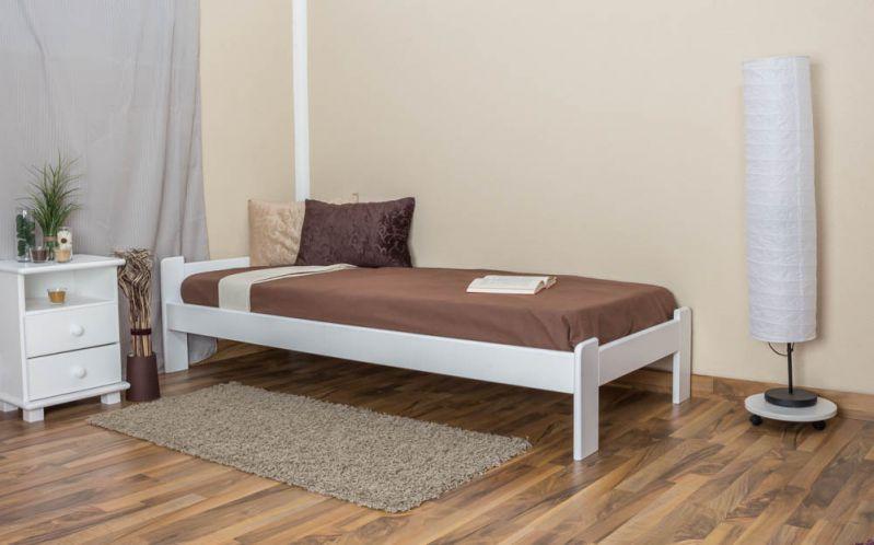 Futonbett / Massivholzbett Kiefer Vollholz massiv weiß lackiert A8, inkl. Lattenrost - Abmessungen: 80 x 200 cm