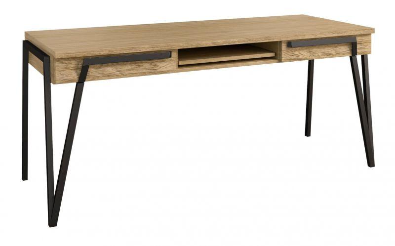 Schreibtisch Kastav 49, Farbe: Eiche / Schwarz, teilmassiv - 79 x 180 x 75 cm (H x B x T)
