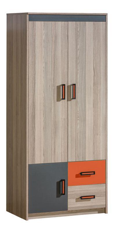 Jugendzimmer - Drehtürenschrank / Kleiderschrank Marcel 01, Farbe: Esche Orange / Grau / Braun - Abmessungen: 187 x 80 x 51 cm (H x B x T)